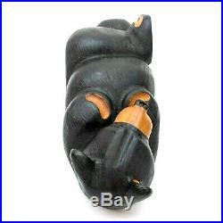 22 Big Sky Carvers Jeff Fleming Carved Wood Bailey Black Bear Reclining Figure