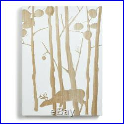 Aspen Deer in Trees Woodgrain and White Silhouette Large Wood Wall Art Plaque