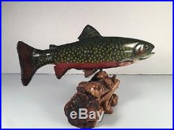 Authentic BIG SKY CARVERS Wood Carved BROOK TROUT on Manzanita SIGNED 12