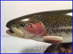 Authentic BIG SKY CARVERS Wood Carved BROWN TROUT on Manzanita SIGNED 17