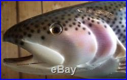 Authentic BIG SKY CARVERS Wood Carved BROWN TROUT on Manzanita SIGNED 23