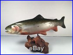 Authentic BIG SKY CARVERS Wood Carved RAINBOW TROUT on Manzanita SIGNED 17