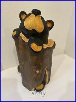 BEARFOOTS Jeff Fleming Big Sky Carvers Solid Wood Bear Stuck in tree trunk 15