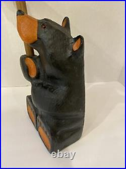 BEARFOOTS Jeff Fleming Big Sky Carvers Solid Wood Bear withsign WIPE YER PAWS 21