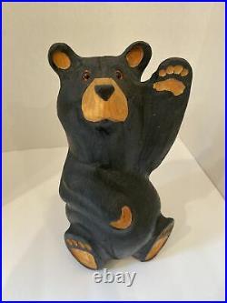 BEARFOOTS Jeff Fleming Big Sky Carvers Solid Wood Waving MIkey Bear RARE