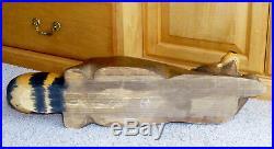 BIG SKY CARVERS Raccoon Large 23L Solid Wood Carved Figurine Glass Eyes 1996