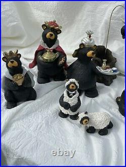 Bearfoots Bears Beartivity Nativity Jeff Fleming Big Sky Carvers 3 sets with box