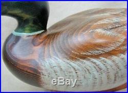 Beautiful BIG SKY Carvers Wooden Duck Decoy, Vintage Signed Emistensen Mallard