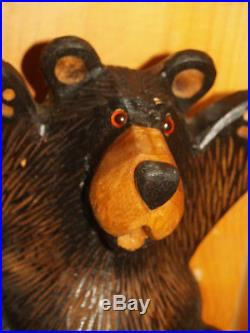 Big Sky Bears solid wood bear laying Big carvers Bear light brown rough fur