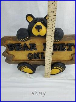 Big Sky Carvers Bearfoots Bear Feet Only Sign Plaque Jeff Fleming Retired
