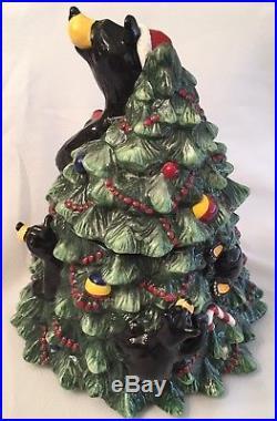 Big Sky Carvers Bearfoots Bear Tree Cookie Jar by Jeff Fleming Christmas EUC
