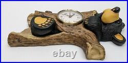 Big Sky Carvers Bearfoots Bear Wall Clock Jeff Fleming Retired Rustic Log Tree