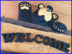 Big Sky Carvers Bearfoots Welcome Sign Lodge Style Log Home Cabin Welcome Sign