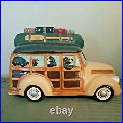 Big Sky Carvers Bearfoots Woodie Wagon Cookie Jar Vintage Jeff Fleming Cabin