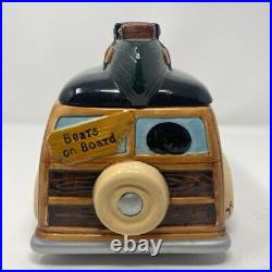 Big Sky Carvers Bearfoots Woody Wagon Cookie Jar Retired Black Bear Jeff Fleming