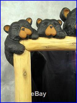 Big Sky Carvers Bearfoots hand painted Mahogany resin-mold Wall Mirror 38bears
