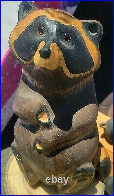 Big Sky Carvers Bears Raccoon. Rare And Vintage Wood Carved. Handmade