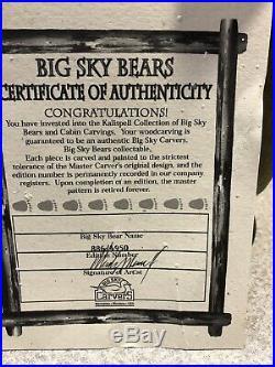 Big Sky Carvers Bernie Fishing Wooden Bear Limit Ed. Jeff Fleming Kalispell