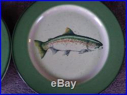 Big Sky Carvers Blake Lovering Rainbow Splender Trout10.5 Dinner Plates (4)