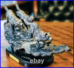 Big Sky Carvers Bronze Wolf Sculpture Night Hunters Marc Pierce Gallery