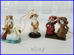 Big Sky Carvers Cats and Birds 12 Days of Christmas Ornament Set in box Rare