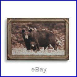 Big Sky Carvers Denver Bryan Black Bear Family Barnwood Gallery Print, 36 X 24