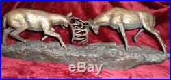 Big Sky Carvers Dominance II Statue Fighting Deer Sculpture RARE No Base
