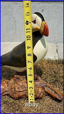 Big Sky Carvers Hand Carved Wood Horned Puffin with Glass Eyes M Michael 90