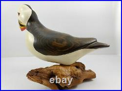 Big Sky Carvers Hand Carved Wood PUFFIN with Glass Eyes Bird Figurine SIGNED