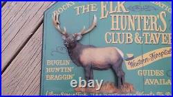 Big Sky Carvers Hand Painted Elk Hunters Club Bar/tavern Sign International Sale