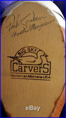 Big Sky Carvers Hooded Merganser Wood Duck Decoy Hand SIGNED Parke Goodman