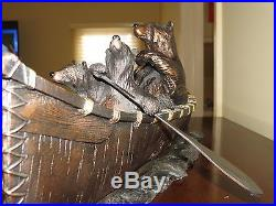 Big Sky Carvers Jeff Fleming Bear Canoe Trip Bear Sculpture Signed and Numbered