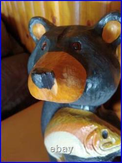 Big Sky Carvers Jeff Fleming Bearfoots Jackson Pine Carved Black Bear & Fish