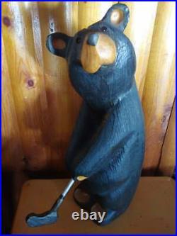 Big Sky Carvers Jeff Fleming Bearfoots Pine Wood Arnold Golfer Black Bear