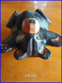 Big Sky Carvers Jeff Fleming Bearfoots Pine Wood Carved Black Bear on Back