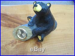 Big Sky Carvers Jeff Fleming Clock, Bear On A Log Figurine Bearfoots
