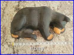 Big Sky Carvers Jeff Fleming Hand Carved Solid Wood 16 Black Bear Sculpture