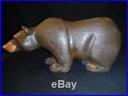 Big Sky Carvers Jeff Fleming Solid Wood Bear Bigfoots Griz+certificate Tag