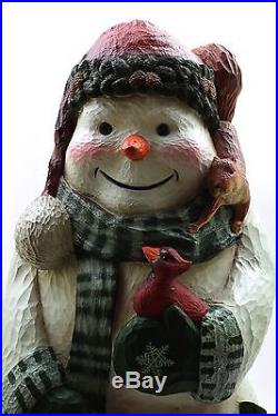 Big Sky Carvers Large Woodland Snowman 22 Signed #60 Stuart Bond