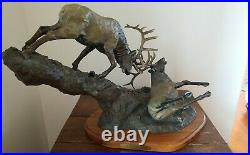 Big Sky Carvers Life Lesson Fighting Elk Sculpture