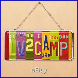 Big Sky Carvers Love To Camp Vanity Metal License Plate Wall Art with Chain