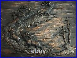 Big Sky Carvers Marc Pierce Bull Elk Herd Antlers 3D Wall Relief Sculpture Decor