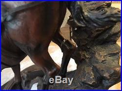Big Sky Carvers Marc Pierce Last Creek Crossing Horse Hunting Sculpture