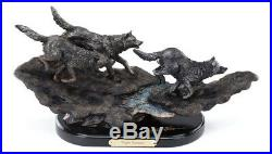 Big Sky Carvers Marc Pierce Running Wolves Sculpture, Night Hunters Wolf Pack
