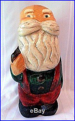 Big Sky Carvers Montana Wood Stumpy Santa 18 Tall Rare Retired Solid Pine IOB