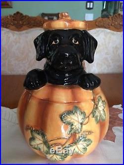Big Sky Carvers Pumpkin Dog Black Lab Cookie Jar