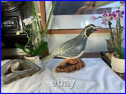 Big Sky Carvers Quail Bird Hand Painted 9Wooden Carving RARE Signed Kissy VG++