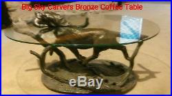 Big Sky Carvers, Retrieving Lab, glass and bronze resin coffee table
