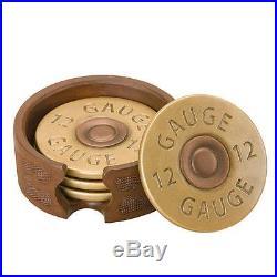 Big Sky Carvers Shotgun 12 Gauge Shot Gun Deer Hunting Shell Drink Coasters Set