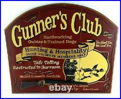 Big Sky Carvers Sign Gunners Club Handpainted Duck Hunting Man Cave Bar Large